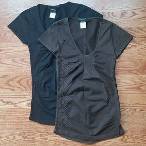 BCBG black and brown soft stretchy nylon tees XS S